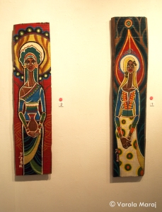 'Our Lady of the Drought' & Our Lady of the Rains' (Oil paints on teak)