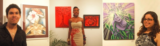Artists on display: Reuben Gonzales, Sarah Burrows and Gabriella D'Abreau