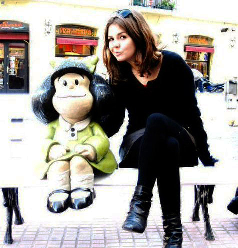 Stephanie with Mafalda during her trip to Buenos Aires.