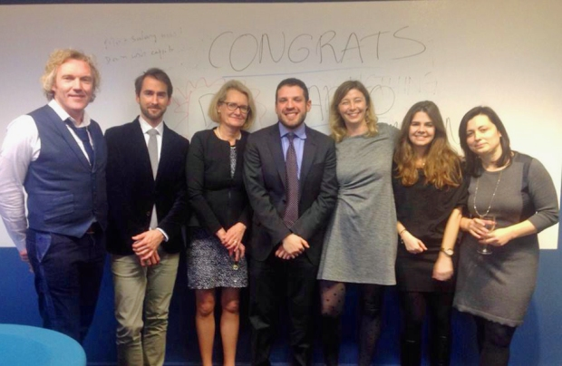 Stephanie (second from right) with Cass Business School faculty members, taken after Mario Campana (one of her PhD students)' final defence.